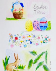 Easter Time, easter, pascua, ilustración, flowers, flores, spring, ilustraciones, ACUARELA, DIBUJO, drawing, illustrations, collage, acuarelle, art, pattern, patrón, técnica mixta, Ruth Alvarez artista, ruth alvarez collage, nuevas tendencias arte, cuadros textiles, arte textil, textile art, comprar arte, vender arte